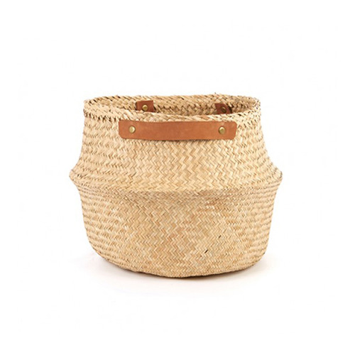 [olli ella] Leather Handled Belly Basket_Natural(M,L)