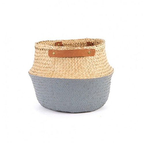 [olli ella] Leather Handled Belly Basket_Grey