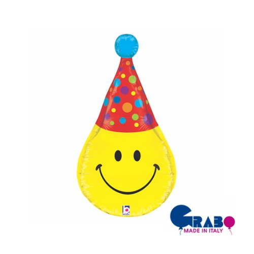 "[Grabo balloons] 3D Smiley Party Hat 33""(69x35cm)"