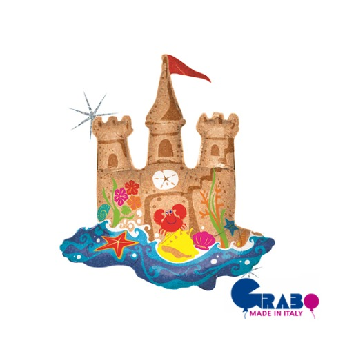 "[Grabo balloons] Sand Castle Holographic 35""(70x76cm)"