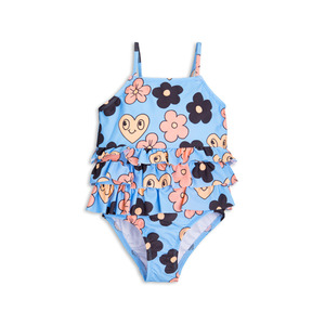 [mini rodini 17ss] flower frill swimsuit_light Blue