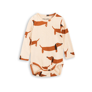 [mini rodini 17fw] Dog Long Sleeve Body_beige
