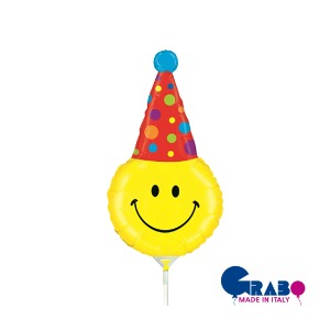 "[Grabo balloons] Smiley Party Hat mini 14""(33x16cm)"